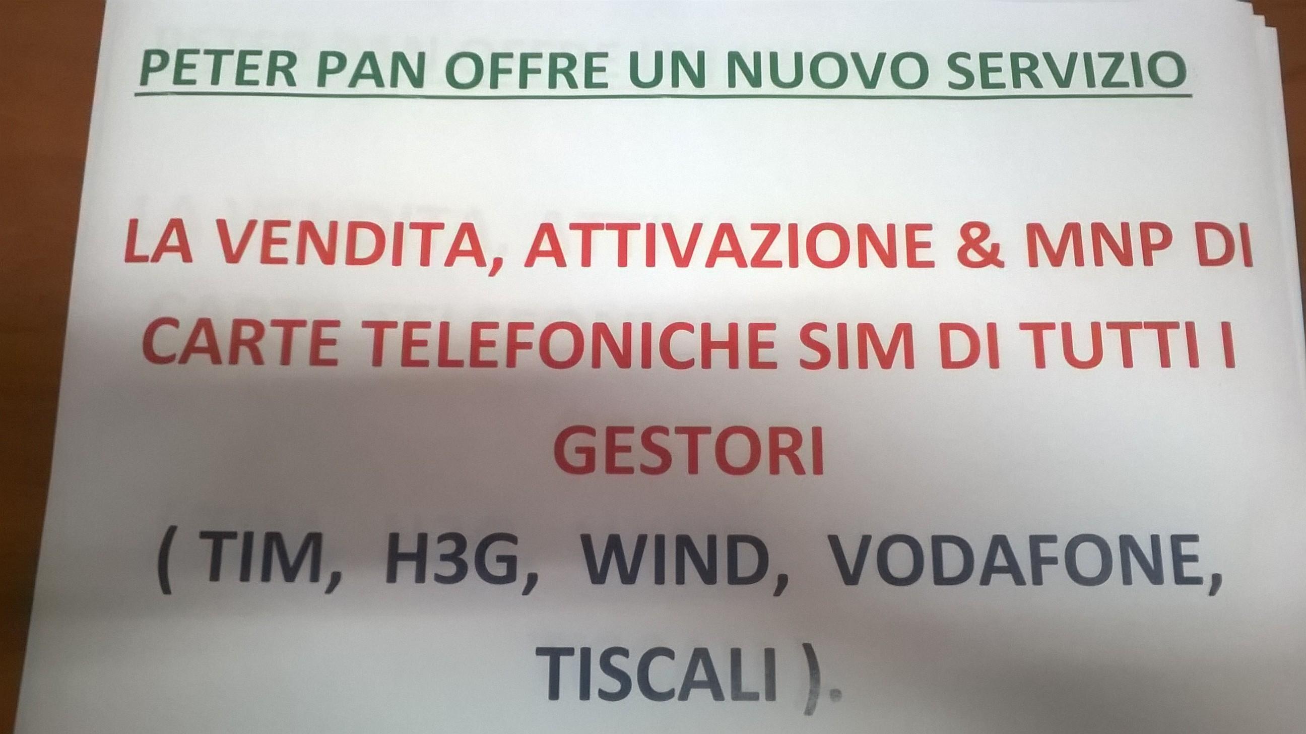 PETER PAN offre un nuovo servizio di vendita ed attivazione di carte SIM di tutti i gestori telefonici