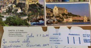 Una cartolina da Gaeta per il sindaco Pugliese per l'impresa di Vela Latina MdP