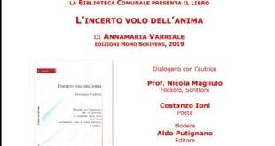 BACOLI. MERCOLEDÌ 22 GENNAIO A VILLA CERILLO PRESENTAZIONE L'INCERTO VOLO DELL'ANIMA DI ANNAMARIA VARRIALE