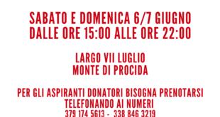 Monte di Procida. Sabato e Domenica 6/7 giugno c'è la donazione di sangue a Largo VII Luglio