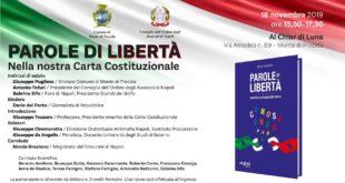PAROLE DI LIBERTA' CONVEGNO AL CHIAR DI LUNA Lunedì 18 novembre ore 15.30