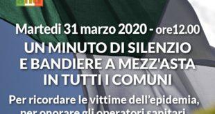 Oggi ore 12  un minuto di silenzio e bandiere a mezz'asta in tutti i comuni d'Italia