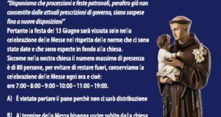 MONTE DI PROCIDA FESTA LITURGICA DI S. ANTONIO DEL 13 GIUGNO ECCO IL PROTOCOLLO