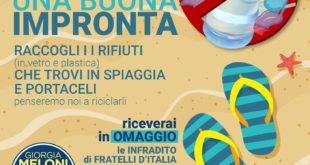 """Bacoli. Fratelli d'Italia lancia l'iniziativa """"Lascia una buona impronta""""Lido Turistico giovedì 13 Agosto"""