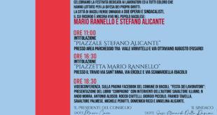 BACOLI.1° Maggio 2021: Festa dei Lavoratori. Intitolazioni dedicate a Mario Rannello e Stefano Alicante