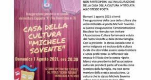 L'ass.Michele Sovente non parteciperà alla inaugazione della casa dedicata al poeta.